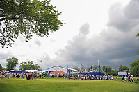 Severe weather approaches from the west as the group of Alison Lee (USA), Brooke M. Henderson (CAN), and Ariya Jutanugarn (THA) wait to tee off on 10 during Friday's round 2 of the 2017 KPMG Women's PGA Championship, at Olympia Fields Country Club, Olympia Fields, Illinois. 6/30/2017.<br /> Picture: Golffile | Ken Murray<br /> <br /> <br /> All photo usage must carry mandatory copyright credit (&copy; Golffile | Ken Murray)