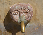 Stone water fountain face village of Grazalema, Cadiz province, Spain