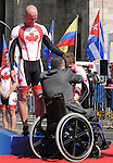 November 13 2011 - Guadalajara, Mexico: Daniel Chalifour with his pilot Ed Veal preparing to receiving their Bronze medals at the 2011 Parapan American Games in Guadalajara, Mexico.  Photos: Matthew Murnaghan/Canadian Paralympic Committee