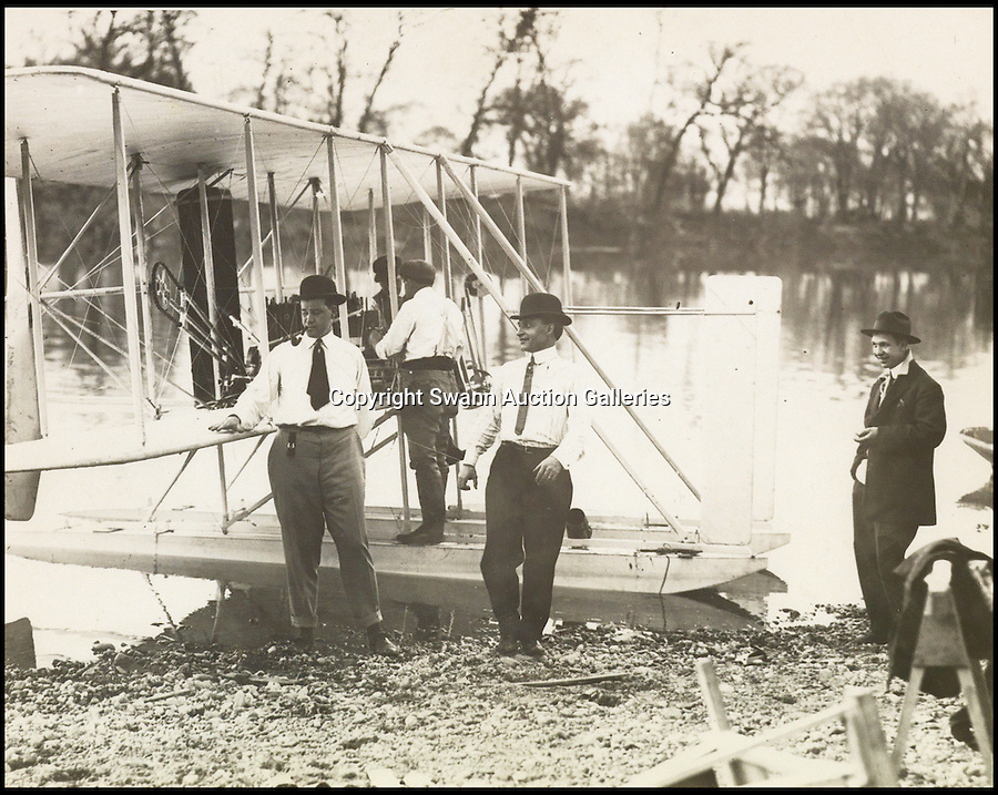 BNPS.co.uk (01202 558833)<br /> Pic: SwannAuctions/BNPS<br /> <br /> ***Please use full byline***<br /> <br /> Wright hydroplane, 1913, Miaim River.<br /> <br /> A fascinating archive of previously unseen photographs documenting the Wright Brothers' pioneering advances in early flight has come to light.<br /> <br /> The black and white photos chart Wilbur and Orville Wright's work developing their rudimentary aircraft in the years following their historic first powered flight in 1903.<br /> <br /> The collection was compiled by aviation enthusiast Walt Burton, who bought two albums of photos of the Wright Brothers from Frank Hermes, a businessman who paid the pair to fly his freight around.<br /> <br /> It expected to fetch upwards of £20,000 when it goes under the hammer at Swann Auction Galleries.