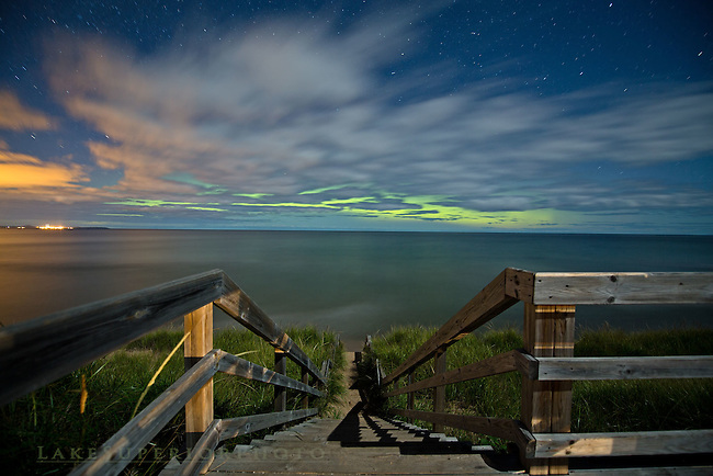 aurora thru the clouds, M28 Beach Stairs