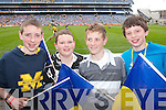 FLAGS: Cheering on the CBS School in Croke Park on Sunday were Kevin McCarthy, Loukas Murphy, Brendain Savage and Paddy OCallaghan. .