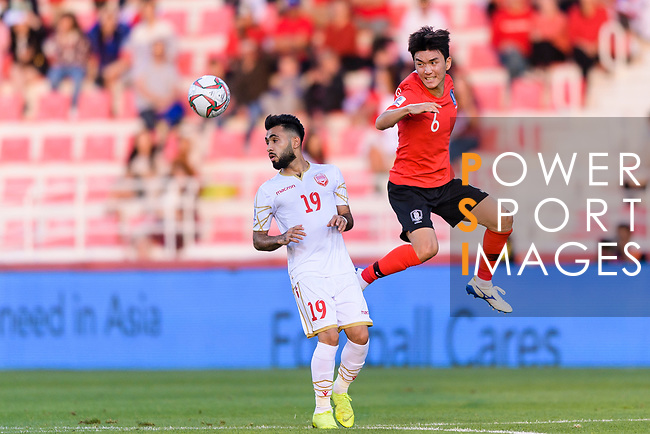 Hwang Inbeom of South Korea (R) fights for the ball with Komail Hasan Alaswad of Bahrain (L) during the AFC Asian Cup UAE 2019 Round of 16 match between South Korea (KOR) and Bahrain (BHR) at Rashid Stadium on 22 January 2019 in Dubai, United Arab Emirates. Photo by Marcio Rodrigo Machado / Power Sport Images