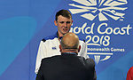 Ross MURDOCH (SCO) is presented with his silver medal. Swimming finals. XXI Commonwealth games. Optus Aquatics Centre. Gold Coast 2018. Queensland. Australia. 05/04/2018. ~ MANDATORY CREDIT Garry Bowden/SIPPA - NO UNAUTHORISED USE - +44 7837 394578