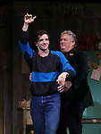 "Michael Urie and Harvey Fierstein  during the Broadway Opening Night Curtain Call for ""Torch Song"" at the Hayes Theater on November 1, 2018 in New York City."