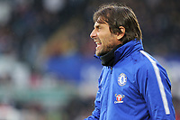 Chelsea manager Antonio Conte reacts on the touch line during the Premier League game between Swansea City v Chelsea at the Liberty Stadium, Swansea, Wales, UK. Saturday 28 April 2018