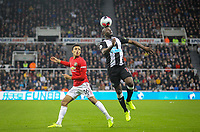 Jetro Willems (on loan from Eintracht Frankfurt) of Newcastle United and Mason Greenwood of Man Utd during the Premier League match between Newcastle United and Manchester United at St. James's Park, Newcastle, England on 6 October 2019. Photo by J GILL / PRiME Media Images.