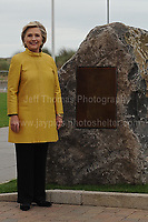 Swansea University, South Wales, UK, Saturday 14th Oct 2017 - <br /> <br /> Hillary Rodham Clinton was today in attendance at Swansea University, where she received an Honorary Doctorate of Laws. Hilary Clinton with the Commemorative stone in her honour. <br /> <br /> Jeff Thomas Photography -  www.jaypics.photoshelter.com - <br /> e-mail swansea1001@hotmail.co.uk -<br /> Mob: 07837 386244 -