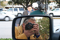 Self portrait in Houston's Galleria as ABC's Darren Lyn broacasts live in 2005.