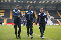 Paul Hayes, Anthony Stewart and Dominic Gape of Wycombe Wanderers arrive ahead of the Sky Bet League 2 match between Notts County and Wycombe Wanderers at Meadow Lane, Nottingham, England on 10 December 2016. Photo by Andy Rowland.