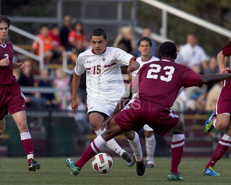Boston College forward/midfielder Diego Medina-Mendez (15) on the attack. Boston College defeated Harvard University, 2-0, at Newton Campus Field, October 11, 2011.