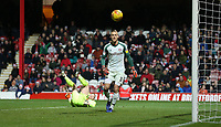 Brentford's Daniel Bentley watches Bolton Wanderers' Ben Alnwick header go just past the post <br /> <br /> Photographer Rob Newell/CameraSport<br /> <br /> The EFL Sky Bet Championship - Brentford v Bolton Wanderers - Saturday 22nd December 2018 - Griffin Park - Brentford<br /> <br /> World Copyright © 2018 CameraSport. All rights reserved. 43 Linden Ave. Countesthorpe. Leicester. England. LE8 5PG - Tel: +44 (0) 116 277 4147 - admin@camerasport.com - www.camerasport.com
