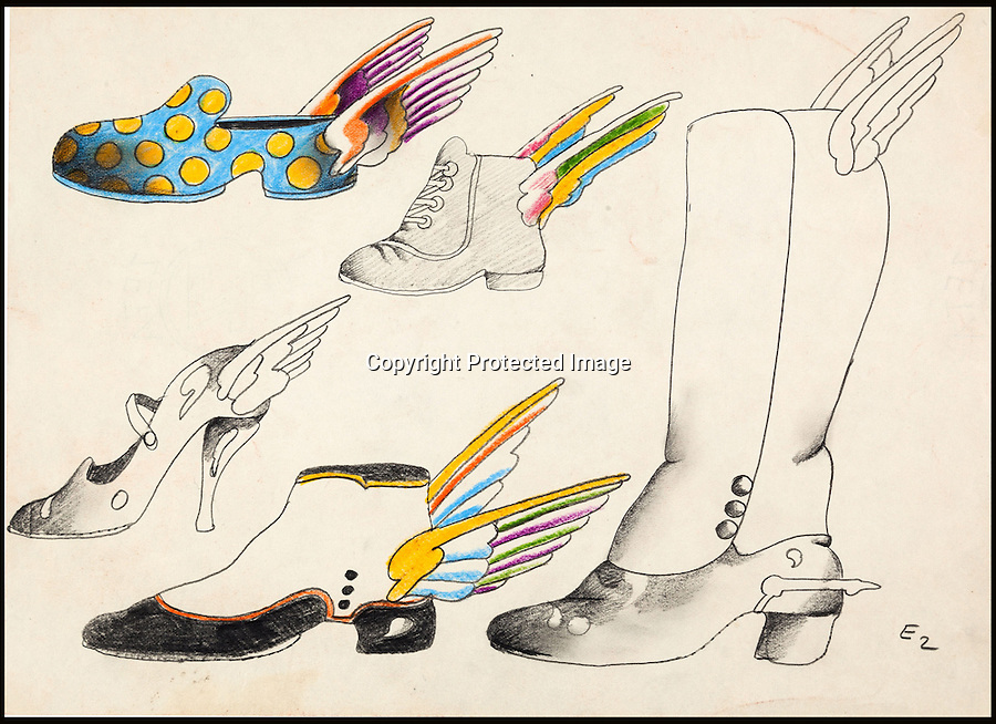 BNPS.co.uk (01202 558833)<br /> Pic: HeritageAuctions/BNPS<br /> <br /> ***Please use full byline***<br /> <br /> Hand drawn shoes and boots with wings from the Sea of Time sequence drawn by the film's Art Director Heinz Edelmann. <br /> <br /> All aboard - A psychedelic snapshot of the swinging sixties is coming up for auction...<br /> <br /> An amazing archive of the original cartoons from the Beatles' surreal animation film Yellow Submarine has emerged for sale for £125,000.<br /> <br /> The collection boasts hand-painted scenes from the iconic 1968 adventure in which the Fab Four travel in the Yellow Submarine to Pepperland to save it from the Blue Meanies.<br /> <br /> Experts have tipped the 80 drawings, each measuring 13.75ins by 10ins, to fetch £125,000 when they go under the hammer in individual lots at Heritage Auctions in Beverly Hills, California.