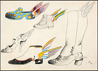 BNPS.co.uk (01202 558833)<br /> Pic: HeritageAuctions/BNPS<br /> <br /> ***Please use full byline***<br /> <br /> Hand drawn shoes and boots with wings from the Sea of Time sequence drawn by the film's Art Director Heinz Edelmann. <br /> <br /> All aboard - A psychedelic snapshot of the swinging sixties is coming up for auction...<br /> <br /> An amazing archive of the original cartoons from the Beatles' surreal animation film Yellow Submarine has emerged for sale for &pound;125,000.<br /> <br /> The collection boasts hand-painted scenes from the iconic 1968 adventure in which the Fab Four travel in the Yellow Submarine to Pepperland to save it from the Blue Meanies.<br /> <br /> Experts have tipped the 80 drawings, each measuring 13.75ins by 10ins, to fetch &pound;125,000 when they go under the hammer in individual lots at Heritage Auctions in Beverly Hills, California.