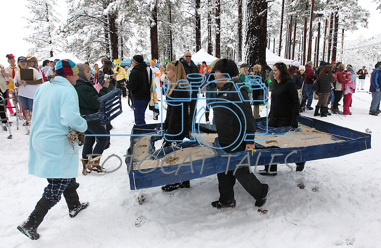 An estimated 500 participants jumped into Lake Tahoe as part of the 8th annual Polar Plunge to benefit Special Olympics at Zephyr Cove, Nev. , on Saturday, March 17, 2012. Many participants wear themed costumes for the event, including this kitty litter box entry from an area vet..Photo by Cathleen Allison