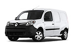Stock pictures of low aggressive front three quarter view of a 2018 Renault Kangoo ZE Maxi ZE 2 places 4 Door Car van