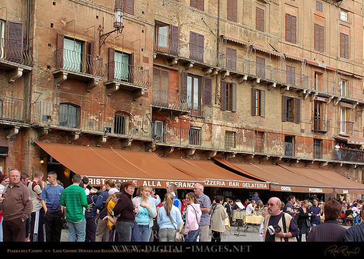 Late Gothic Houses 13th-14th c. and Restaurants, Piazza del Campo, Siena, Italy