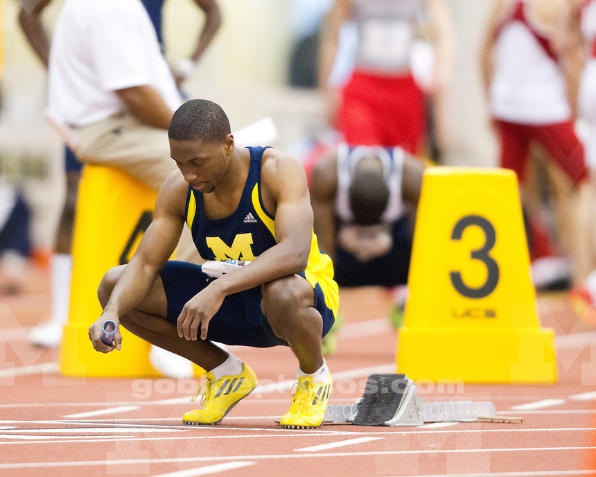 The University of Michigan men's track and field team finished in 9th place at the Big Ten Indoor Championships at the SPIRE Institute in Geneva, Ohio, on February 23, 2012.