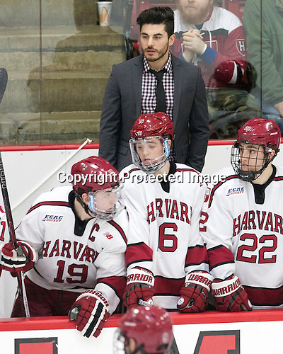 Jimmy Vesey (Harvard - 19), Rob Rassey (Harvard - Assistant Coach), Ryan Donato (Harvard - 16), Devin Tringale (Harvard - 22) -  - The Harvard University Crimson defeated the visiting Colgate University Raiders 7-4 (EN) on Saturday, February 20, 2016, at Bright-Landry Hockey Center in Boston, Massachusetts.