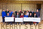 The Mid Kerry Vintage Rally committee present cheques to the Castlemaine Community Services, St Josephs, Recovery Haven and UHK Oncology at the Castlemaine Community centre on Tuesday night.<br /> Seated l-r, Brendan Dennehy (Mid Kerry Vintage Rally), Marie O&rsquo;Sullivan (Castlemaine Community Services), Denis Tagney (Mid Kerry Vintage Society), Sr Helena (St Joseph's Home), Maureen O&rsquo;Brien (Recovery Haven), Michael McKenna (Mid Kerry Vintage Rally) and Mary Fitzgerald (Oncology).