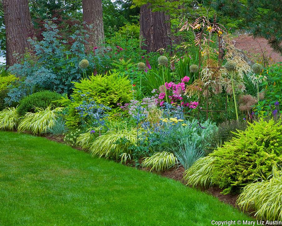 Vashon-Maury Island, WA<br /> Summer perennial garden in a woodland setting