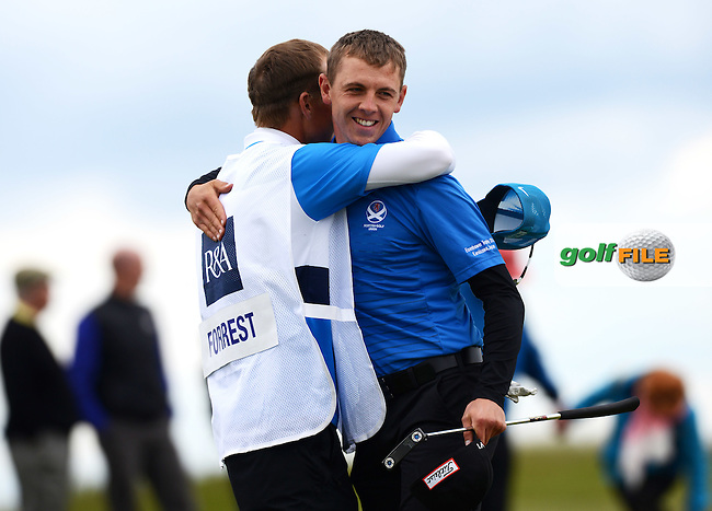 Grant Forrest of Craigielaw celebrates his victory during the Semi-Finals of the 120th Amateur Championship at Carnoustie Golf Links, Carnoustie, Scotland. Picture: Golffile | Richard Martin Roberts<br /> All photo usage must carry mandatory copyright credit (&copy; Golffile | Richard Martin Roberts)