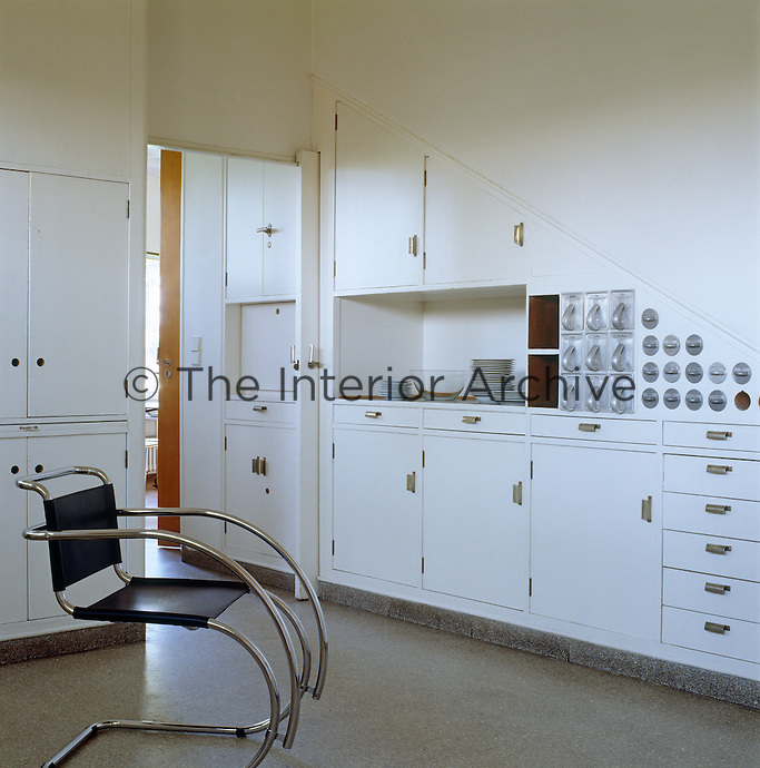 """The kitchen is an example of the revolutionary and functional  """"Frankfurt Kitchen"""" first conceived in 1926 by Margarete Shutte-Lihotsky which was the precursor to the modern domestic fitted kitchen"""