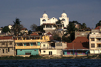 The island town of Flores from Lake Peten Itza, El Peten, Guatemala