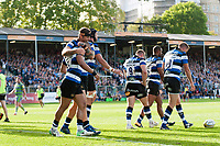 Jonathan Joseph of Bath Rugby celebrates his second half try with team-mates. Aviva Premiership match, between Bath Rugby and Newcastle Falcons on September 23, 2017 at the Recreation Ground in Bath, England. Photo by: Patrick Khachfe / Onside Images