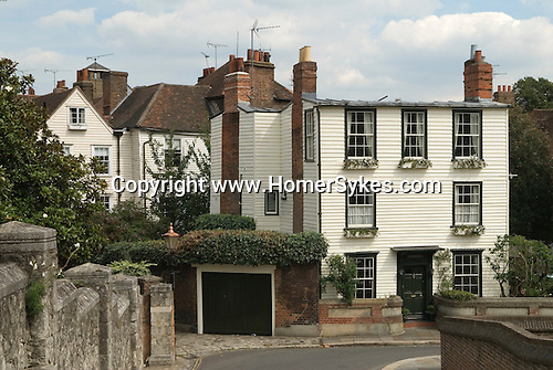 Rochester Kent Uk. Salisbury Villa Epaul Lane,  typical of its time white clapper board building.  Charles Dickens lived in Rochester for many years and incorporated its buildings and the life of this historic Kennish Medway town in to many of his novels.