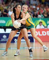 02.11.2008 Silver Ferns Joline Henry and Australia's Lauren Nourse in action during the Holden International Netball test match between the Silver Ferns and Australia played at Brisbane Entertainment Centre in Brisbane Australia. Mandatory Photo Credit ©Michael Bradley.
