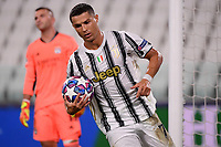 Cristiano Ronaldo of Juventus celebrates after scoring the goal of 1-1 during the Champions League round of 16 second leg football match between Juventus FC and Lyon at Juventus stadium in Turin (Italy), August 7th, 2020. <br /> Photo Federico Tardito / Insidefoto