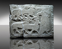 Picture & image of a Neo-Hittite orthostat showing Sacrificial animals being led from Alacahöyük, Alaca Çorum Province, Turkey. Museum of Anatolian Civilisations, Ankara. Old Bronze age Chalcolithic Period. 3