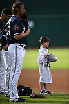 Reno Aces listen to the National Anthem at Greater Nevada Field in Reno, Nev., on Sunday, July 17, 2016.<br />Photo by Cathleen Allison