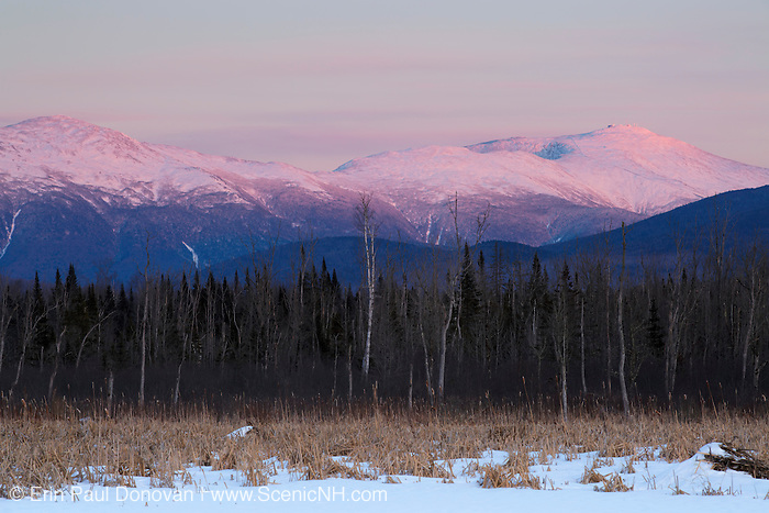 Pondicherry Wildlife Refuge - Scenic view of the Presidential Range at sunset from along the Presidential Range Rail Trail / Cohos Trail near Cherry Pond in Jefferson, New Hampshire USA