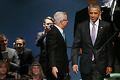 United States President Barack Obama (R) arrives before addressing the 70th annual United Nations General Assembly at the UN headquarters September 28, 2015 in New York City. Obama will hold bilateral meetings with Indian Prime Minister Narendra Modi and Russian President Vladimir Putin later in the day.  <br /> Credit: Chip Somodevilla / Pool via CNP