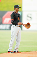 Delmarva Shorebirds shortstop Mychal Givens #1 on defense against the Kannapolis Intimidators at CMC-Northeast Stadium on June 21, 2012 in Kannapolis, North Carolina.  The Intimidators defeated the Shorebirds 6-5 in 11 innings.  (Brian Westerholt/Four Seam Images)