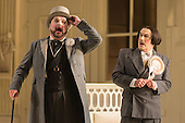 London, UK. 19 November 2015. Graeme Danby as Pooh-Bah and Richard Suart as Ko-Ko. Dress rehearsal for the Gilbert and Sullivan comic opera The Mikado at the London Coliseum. Jonathan Miller's production of The Mikado returns to the Coliseum celebrating 200 performances on stage. Performances start on 21 November 2015 for 13 performances until 6 February 2016. With Robert Lloyd as The Midado, Anthony Gregory as Nanki-Poo, Richard Suart as Ko-Ko, Mary Bevan as Yum-Yum and Yvonne Howard as Katisha. Photo: Bettina Strenske