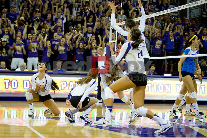 The University of Washington (UW) women's volleyball team defeats UCLA 3-2 at Alaska Airlines Arena on Tuesday September 26, 2012. (Photography By Scott Eklund/Red Box Pictures)