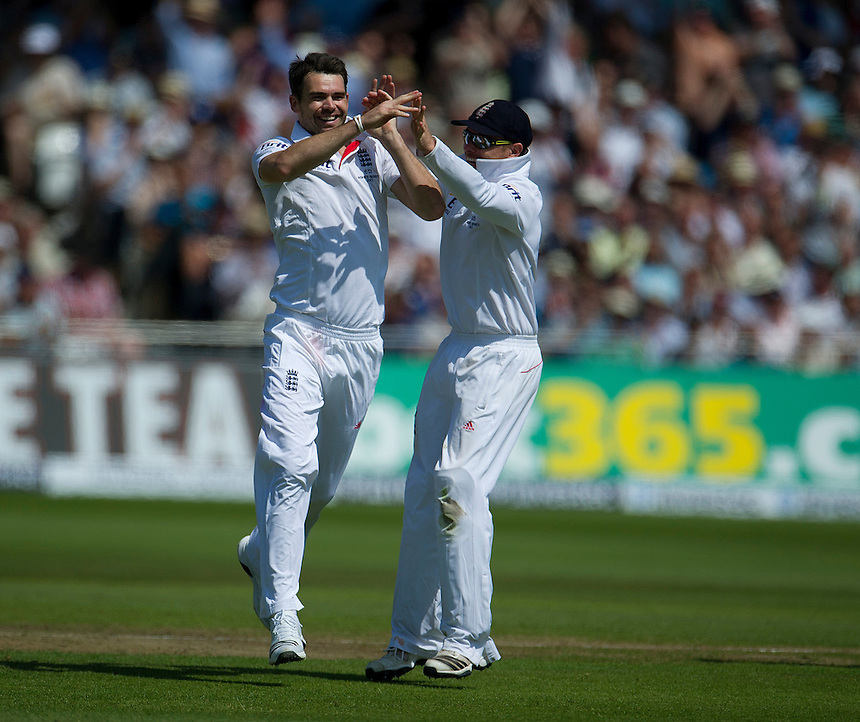 England's James Anderson celebrates taking the wicket of Australia's Peter Siddle with team-mate Ian Bell  - PM Siddle c Prior b Anderson 1<br /> <br />  (Photo by Stephen White/CameraSport) <br /> <br /> International Cricket - First Investec Ashes Test Match - England v Australia - Day 2 - Thursday 11th July 2013 - Trent Bridge - Nottingham<br /> <br /> &copy; CameraSport - 43 Linden Ave. Countesthorpe. Leicester. England. LE8 5PG - Tel: +44 (0) 116 277 4147 - admin@camerasport.com - www.camerasport.com