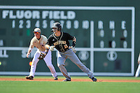 Shortstop Derek Hirsch (11) of the Wofford Terriers in a SoCon Tournament game against Western Carolina on Wednesday, May 25, 2016, at Fluor Field at the West End in Greenville, South Carolina. Western won, 10-9. (Tom Priddy/Four Seam Images)