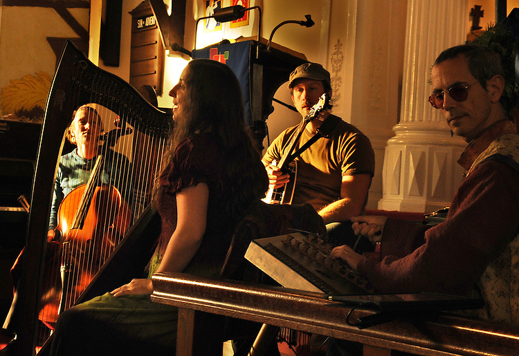 Close-up view of the Musical Group, Mamalama, performing at the Third Lutheran Church on Livingston Street, in Rhinebeck, NY, as part of the Rhinebeck Sinterklaas Celebration, on Saturday, December, 3, 2011. Photo by Jim Peppler. Copyright Jim Peppler/2011..