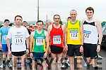 Lining up at the start  of the Humphrey Kelleher memorial 5k in Castleisland on Friday evening were l-r: Tony Harty, Sean O'`Sullivan, John Barrett, Robert Purcell and Andrew Purcell