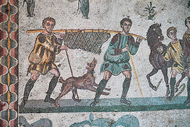 Hunters with a wild boar. Roman mosaic floor of the Room of The Small Hunt, no 25 - Roman mosaics at the Villa Romana del Casale ,  circa the first quarter of the 4th century AD. Sicily, Italy. A UNESCO World Heritage Site.