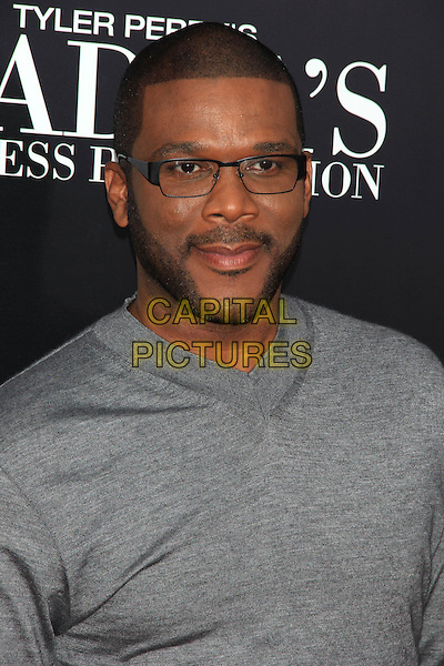 "Tyler Perry.The Premiere of ""Madea's Witness Protection"" held at AMC Loews Lincoln Square Cinemas, New York, NY., USA..June 25th, 2012.headshot portrait grey gray top glasses beard facial hair .CAP/LNC/TOM.©LNC/Capital Pictures."