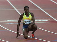 Chrsitine OHURUOGU of GBR (Women's 400m) after finishing during the Sainsburys Anniversary Games Athletics Event at the Olympic Park, London, England on 24 July 2015. Photo by Andy Rowland.