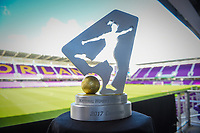 Orlando, FL - Saturday October 14, 2017: 2017 NWSL Championship hardware trophy during the NWSL Championship match between the North Carolina Courage and the Portland Thorns FC at Orlando City Stadium.