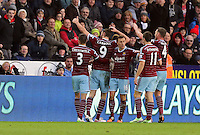 Pictured: Andy Carroll (9) of West Ham celebrating his opening goal Saturday 10 January 2015<br />