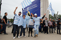 20121020 Copyright onEdition 2012©.Free for editorial use image, please credit: onEdition..Racing Metro 92 fans before the Heineken Cup Round 2 match between Saracens and Racing Metro 92 at the King Baudouin Stadium, Brussels on Saturday 20th October 2012 (Photo by Rob Munro)..For press contacts contact: Sam Feasey at brandRapport on M: +44 (0)7717 757114 E: SFeasey@brand-rapport.com..If you require a higher resolution image or you have any other onEdition photographic enquiries, please contact onEdition on 0845 900 2 900 or email info@onEdition.com.This image is copyright the onEdition 2012©..This image has been supplied by onEdition and must be credited onEdition. The author is asserting his full Moral rights in relation to the publication of this image. Rights for onward transmission of any image or file is not granted or implied. Changing or deleting Copyright information is illegal as specified in the Copyright, Design and Patents Act 1988. If you are in any way unsure of your right to publish this image please contact onEdition on 0845 900 2 900 or email info@onEdition.com