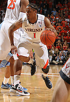 Virginia Cavaliers guard Jontel Evans (1) handles the ball during the game against North Carolina in Charlottesville, Va. North Carolina defeated Virginia 54-51.
